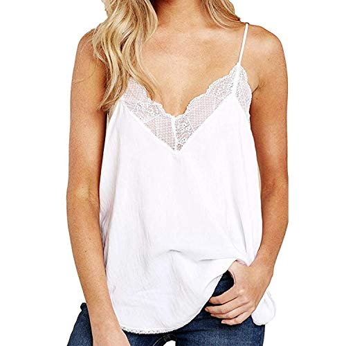- Women's V Neck Lace Strappy Cami Tank Tops Loose Casual Sleeveless Blouses Shirts Tunic (White, Medium)