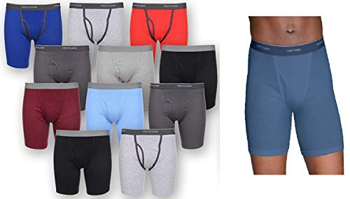 12 Pack of Fruit Of The Loom Mens Tag Free Traditional Boxer Briefs, Assorted, ()