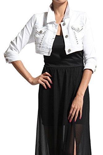 TheMogan Women's Embellished 3/4 Sleeve Crop Jean Jacket - White - Small