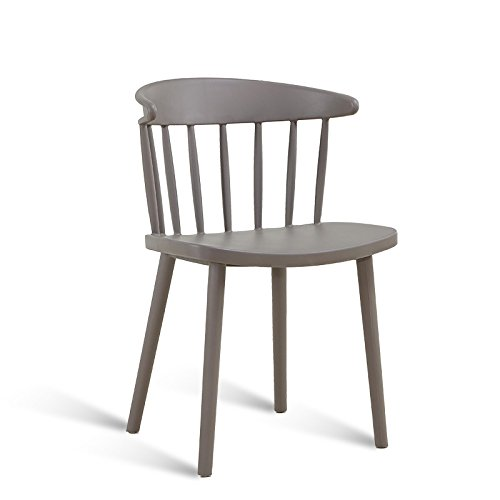 Modern simple dining chair / home desk and chair / plastic backrest / casual negotiation chair / cafe chair ( Color : Gray ) by Xin-stool