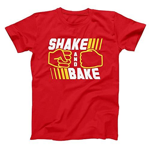 Superbiggie Talladega Nights Ricky Bobby Short Sleeve T-Shirt Shake & Bake Tees Red Small ()