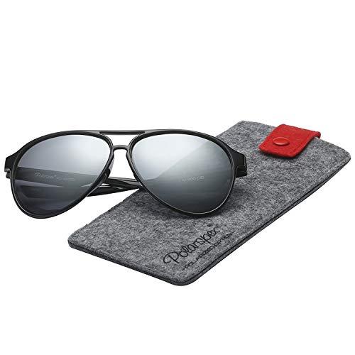 Polarspex Classic Unisex Polarized Ultra Lightweight Flexible Aviator Sunglasses (Gloss Black | Polarized Ice Tech, 56)