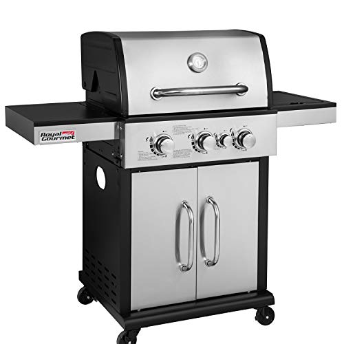Royal Gourmet GG3302S 3-Burner Cabinet Liquid Propane Gas Grill with Side Burner, 45,000 BTU, Outdoor Camping Cooking, Stainless