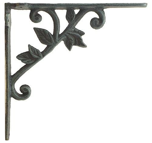 Import Wholesales Wall Shelf Bracket Vine & Leaf Pattern Decorative Verdigris Cast Iron Brace 8.375
