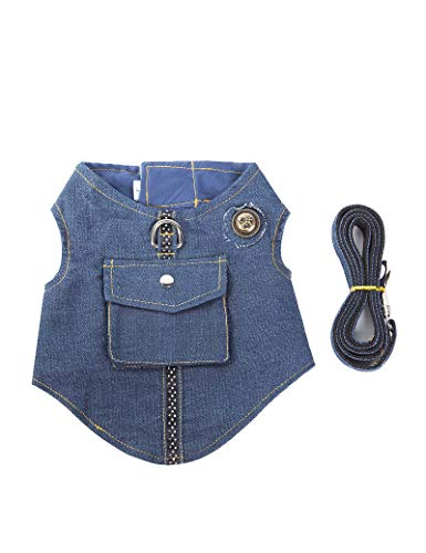 HOLADON Denim Pet Dog Vest Harness for Small Medium Dogs/Cats with Buckle Closure Leash Traction Rope Chest Strap
