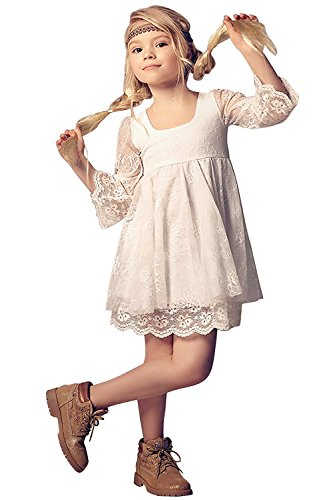MisShow Flower Girls Dresses with Trumpt Sleeve Lace Pageant Dresses -