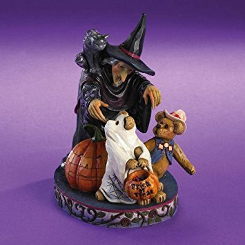 Boyds Halloween Bear - Boyds Bears Jim Shore ELSA WITCHINGTON AND SALEM WITH HOWDY AND BOO - FRIGHTS IN THE NIGHT