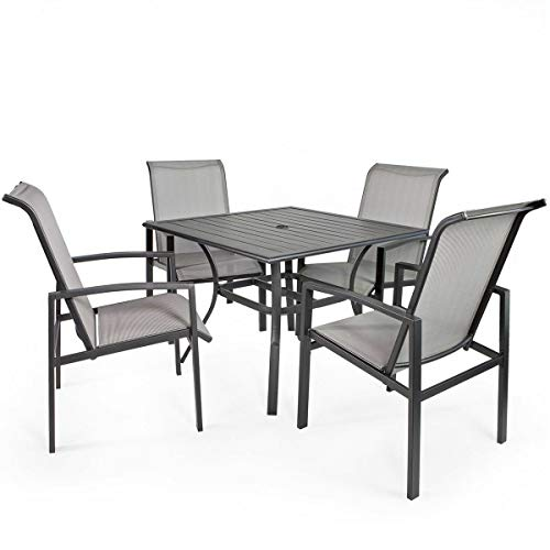 Elegant and Contemporary Design, Vienna Style, Barton 5-Piece Outdoor Patio Dining 1 Table and 4 Chairs Set Outdoor Furniture