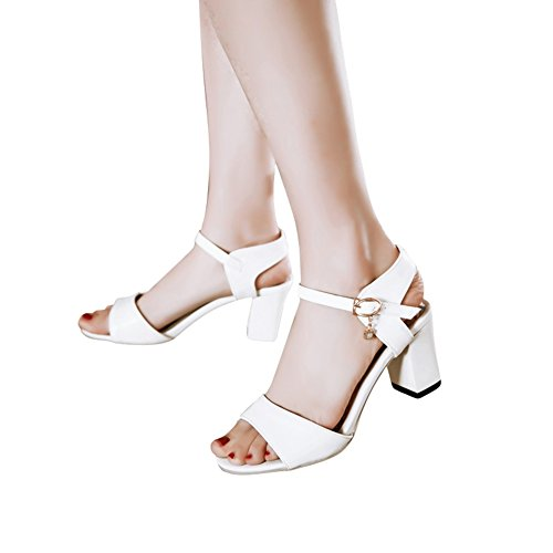 Bedel Voet Damesblok Hak Mary Jane Open Teen Sandaal Wit