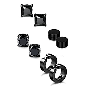 Jstyle 4 Pairs Stainless Steel Stud Earrings for Men Women Magnetic Stud Earrings Non-piercing CZ