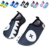 Mabove Kids Swim Water Shoes Non-Slip Quick Dry Barefoot Aqua Pool Socks Shoes for Boys & Girls Toddler (Black Shark, 28/29EU)