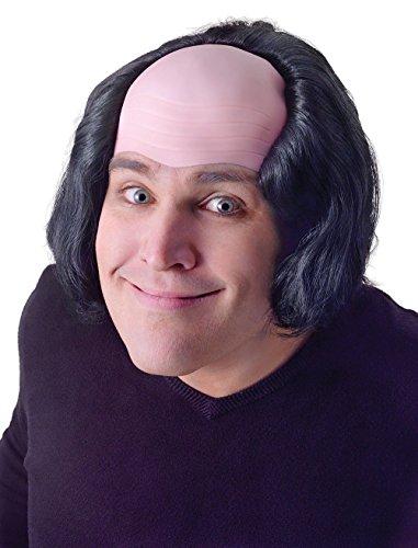 Bald Man With Black Hair Wig Creepy Old Man Monk Halloween Fancy Dress ()