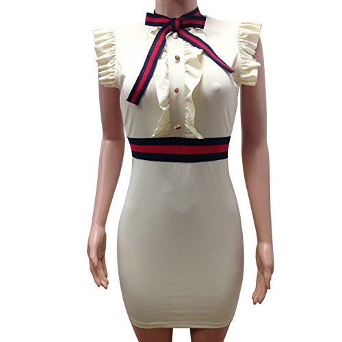 Bodycon Bota Dress Bowknot Mini Sleeveless Party Rela Ruffled White Turtleneck Women's Ywd4O