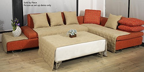 OctoRose Quilted Micro Suede Sectional Sofa Throw Pad Furniture Protector Sold By Piece Rather Than Set (Khaki, (3 Piece Sectional Arm Chair)