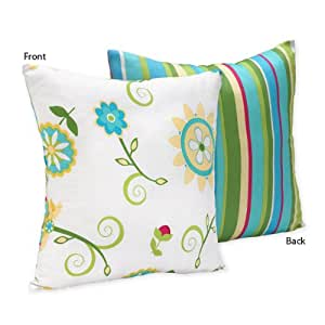 Turquoise and Lime Layla Decorative Accent Throw Pillow by Sweet Jojo Designs