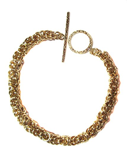 Bracelet 14k Gold-Filled Ancient Byzantine Weave Chain Mail Easy On and Off Large Toggle Clasp