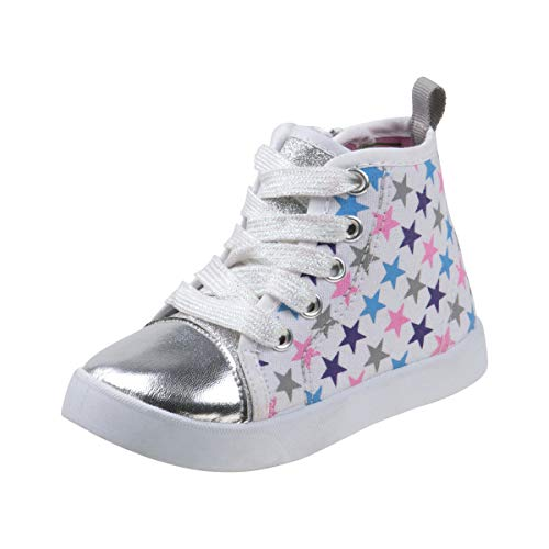 Beverly Hills Polo Club Girls High Top Sneaker, White Stars, 10 M US Toddler'
