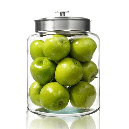 na Glass Jar with Fresh Sealed Lid, Brushed Metal, 2.5 Gallon ()