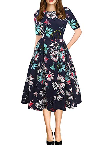 oxiuly Women's Vintage Floral Flare Scoop Neck Slim Evening Party Dress with Pockets OX165 (XL, Navy Blue F)