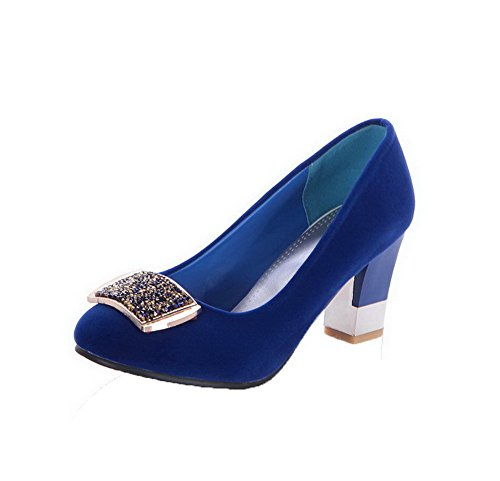 AmoonyFashion Womens Pull-On Kitten-Heels Frosted Studded Round-Toe Pumps-Shoes Blue SOBO7