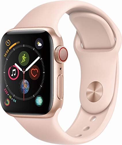 Apple Watch Series 4 (GPS+Cellular) Aluminum Case Unlocked Compatible with iPhone 5s and Above (Gold Aluminum Case with Pink Sand Sport Band, 40mm) (Best Gps For Iphone 4)
