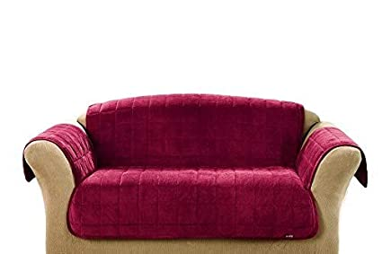 Surefit Deluxe Loveseat Furniture Cover With Arms Burgundy