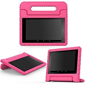 MoKo Case for Fire HD 8 2016 Tablet - Kids Shock Proof Convertible Handle Light Weight Protective Stand Cover for Fire HD 8 (Previous 6th Gen-2016 Release ONLY), MAGENTA (NOT FIT 7th Gen 2017 Tablet)