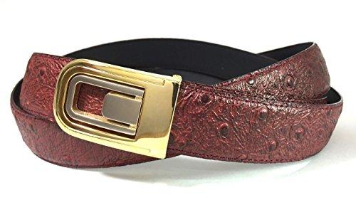EDNA Bonded Leather Ostrich Skin Print Dress Belt Burgundy