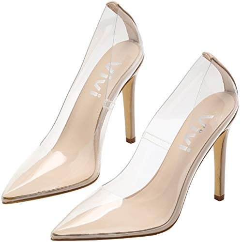 vivianly Fashion High Heel Pointed Toe Clear Pumps Heels Slip on Dress Shoes for Women Nude