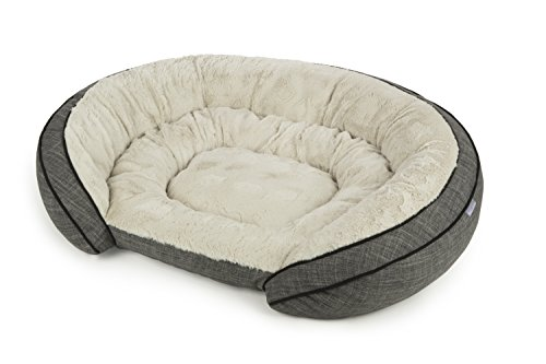 (Sterling Premium Cooling Gel Memory Foam Pet Bed, Plush with Woven Linen, Gray)