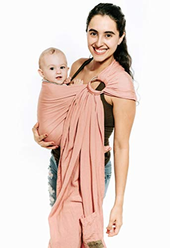Luxury Ring Sling Baby Carrier - Extra Soft Bamboo & Linen Fabric, Free Carry Bag, for Newborns, Infants & Toddlers - Best Baby Shower Gift - Nursing Cover - from Pura Vida Slings (Dusty Rose)