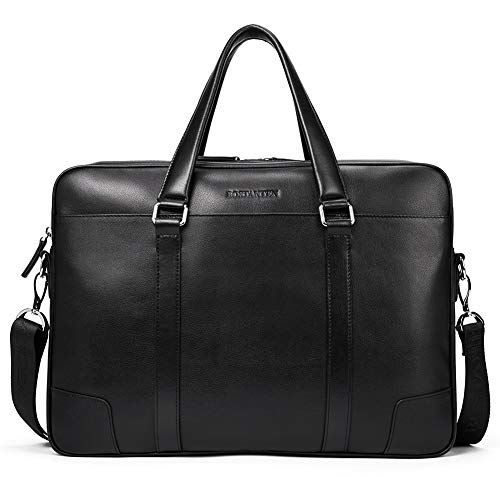 BOSTANTEN Leather Briefcase Messenger Business Bags 15.6 inch Laptop Handbag for Men Black