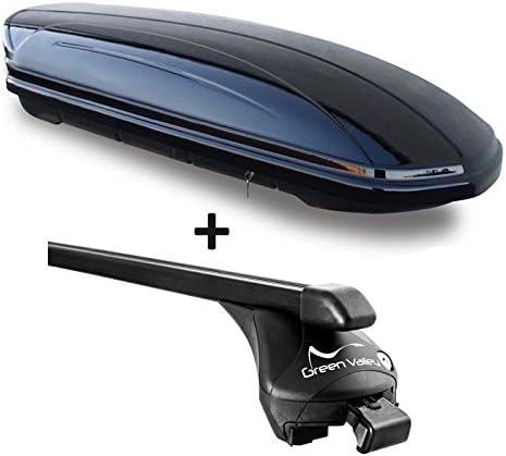 VDP Dachbox schwarz glänzend MAA 460G Auto Dachkoffer 460 Liter abschließbar + Relingträger Dachgepäckträger aufliegende Reling im Set kompatibel mit Volvo XC60 ab 2008 bis