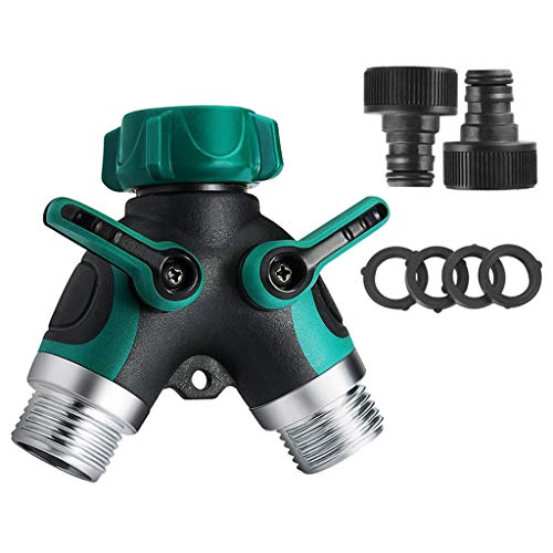 TureLaugh 2 Way Water Hose Splitter for Outdoor Faucet Sprinkler and Drip Systems of 2 Ways Ball Valve Garden Water Hose Y Connector for Your Garden (A)