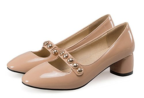 Aisun Womens New Trendy Square Toe Dress Slip On Chunky Medium Heels Mary-Jane Pumps Shoes Apricot Scgm8