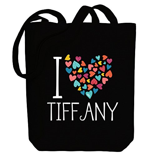 Idakoos - I love Tiffany colorful hearts - Female Names - Canvas Tote Bag (Tiffany Heart Bag)