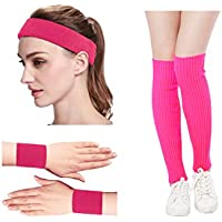 Kimberly Knit de la mujer 80s Neon Pink Running Headband pulseras calentadores de piernas Set
