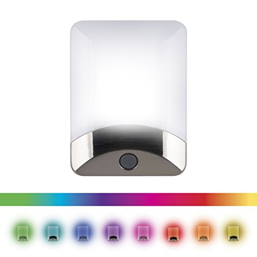 - GE Color Changing LED Night Light, 8 Different Colors, Energy Efficient, Light Sensing, Ideal for Bedroom, Hallway, Stairs, Kitchen, Garage, Utility Room, Laundry Room, Brushed Nickel Base, 34694