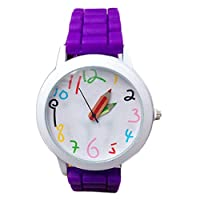 Acamifashion Fashion Student Wristwatch Silicone Strap Analog Quartz Wrist Watch Xmas Gift - Purple