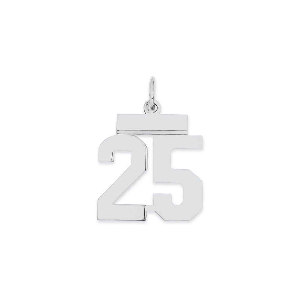 Solid 925 Sterling Silver Small Polished Number 25 8mm x 20mm