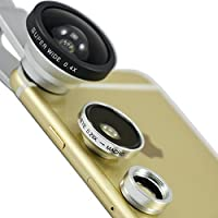 First2savvv JTSJ-CJ3-16 silver Universal Detachable 0.4X Super Wide Angle + 0.29X fish eye + Macro lens professional Mobile phone Lens for HP 7 G2 HP 8 G2 Tablet HP 10 Plus HP Slate 7 Extreme HP 7 Plus HP 8 Tablet HP Slate 7 Beats Special Edition with LENS Cleaning Cloth