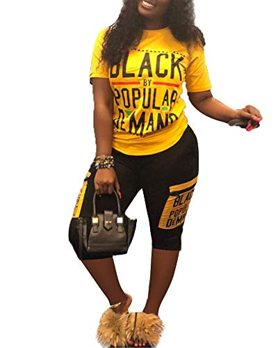 Womens Sexy Tracksuit 2 Piece Sports Outfit T-Shirt Bodycon Shorts Jogger Set Sportswear Clubwear Yellow Plus Size -