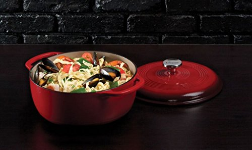 Lodge EC6D43 Enameled Cast Iron Dutch Oven, 6-Quart, Island Spice Red