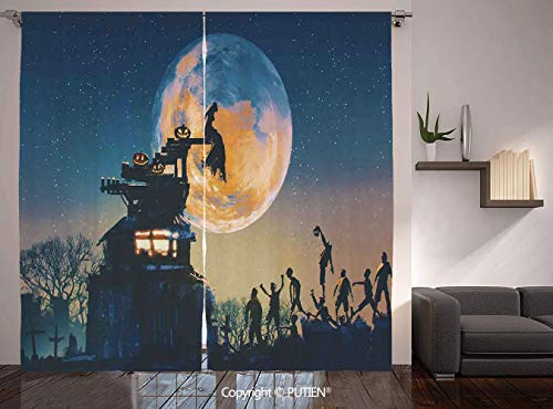 Thermal Insulated Blackout Window Curtain [ Fantasy World,Dead Queen in Castle Zombies in Cemetery Love Affair Bridal Halloween Theme,Blue Yellow ] for Living Room Bedroom Dorm Room Classroom Kitchen -