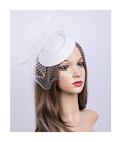 Fascinators Hats 20s 50s Hat Pillbox Hat Cocktail Tea Party Headwear with Veil for Girls and Women(B-White)