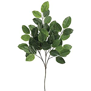 "Banyon Leaf Spray Green Plastic - 37"" H 7"