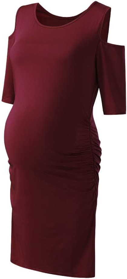 Women Cold Shoulder Maternity Dresses Short Sleeve Bodycon Pregnancy Dresses Girdle Mini Dresses for Baby Shower and Daily Wearing