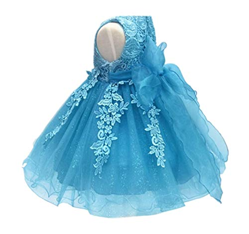H.X Baby Girl's Lace Gauze Christening Baptism Wedding Dress with Petticoat (12M/Fit 8-12 months, Blue)