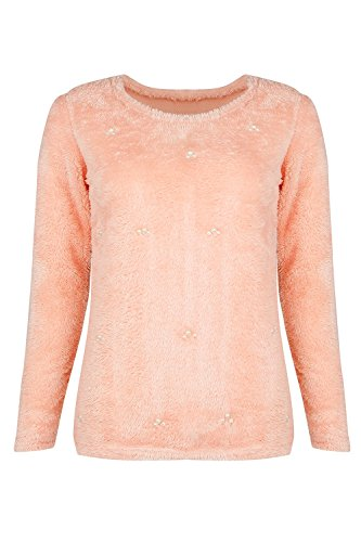 avec Pink Sweatshirts Manches Yacun Perle Mince Pull Longues Femmes Lache qg4wtAO