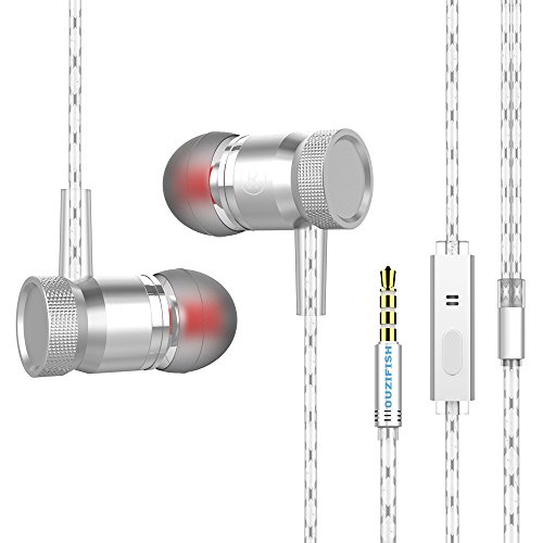 Earphones, OUZIFISH Wired Earbuds 3.5mm In-Ear Headphones Mic Noise Cancelling Stereo Silver